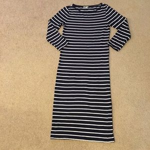 Navy and White Striped Body Con Dress